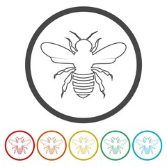 Bee icon. Bee flat symbol. Bee art illustration.
