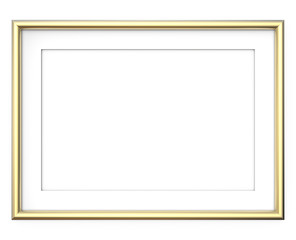 Golden Picture Frame. 3D render of Golden Frame with white Passe-partout. Rounded profile. Blank for Copy Space.