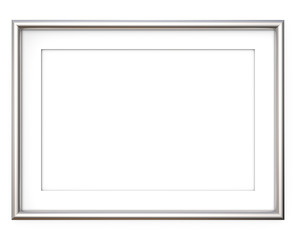 Steel Picture Frame. 3D render of metal Frame with white Passe-partout. Rounded profile. Blank for Copy Space.