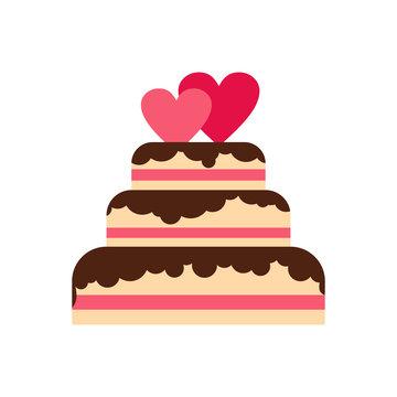 Wedding cake icon in flat style isolated on white background. Food symbol vector illustration