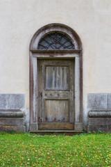Old wooden Catholic door
