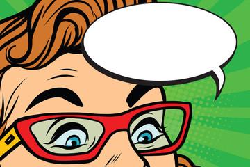 Woman in glasses surprised eyes