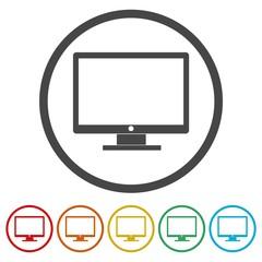 Monitor TV icon. Monitor TV flat symbol.
