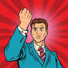 Businessman with fist, pop art protest