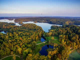 Top view of lakes next to Trakai and Vilnius, Lithuania