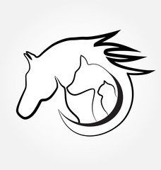 Logo horse cat and dog icon vector image