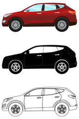 Set of terrain vehicles in flat style: colored, black silhouette