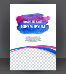 Vector empty brochure template print blank watercolor design, blue watercolour