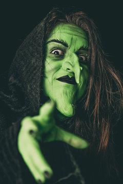 Evil witch casting a curse