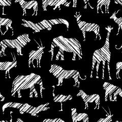 Grunge African Pattern With White Diagonal Shading Stylized Animals
