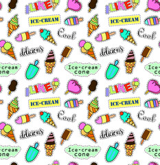 Seamless pattern with fashion patch badges. Pop art. Vector background with stickers, pins, patches in cartoon 80s-90s comic style. Ice cream set. Vector clip-art.