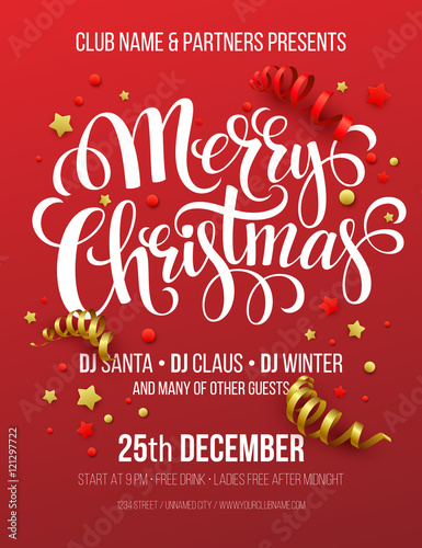 merry christmas party poster vector illustration