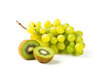 Grapes and kiwi on white backgound
