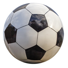 Soccer ball closeup, isolated on white background
