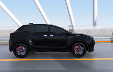 Black electric SUV driving on arc bridge. 3D rendering image.