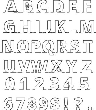 continuous line font - letters and numbers thin line