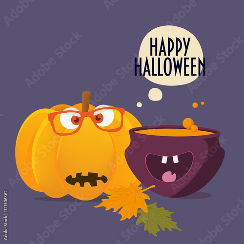 Happy Halloween Card. Old Scary Halloween Pumpkin With Hipster Glasses On,  Spooky Happy Witch