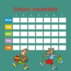 school timetable, monkey and wolf, vector icon