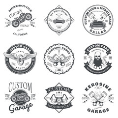 Set of Custom Car and Bike Garage Label and Badge Design Vector