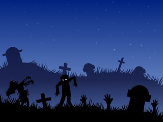 Halloween background with zombies, tombstones and on the cemetery