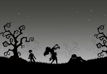 Halloween night background with zombies in the grass
