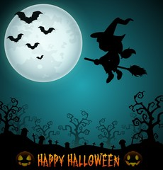 Halloween night background with flying little girl witch in broomstick on the cemetery