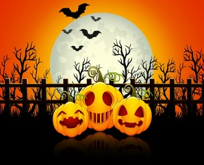 Halloween background with happy pumpkins