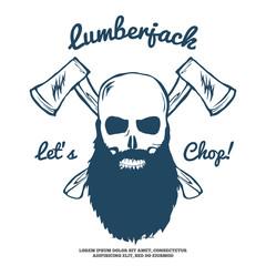 Lumberjack Skull with beard and Crossed Axes Vector