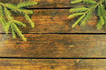 Christmas and New Year Background with Old Vintage Wooden Boards, Fir Branches