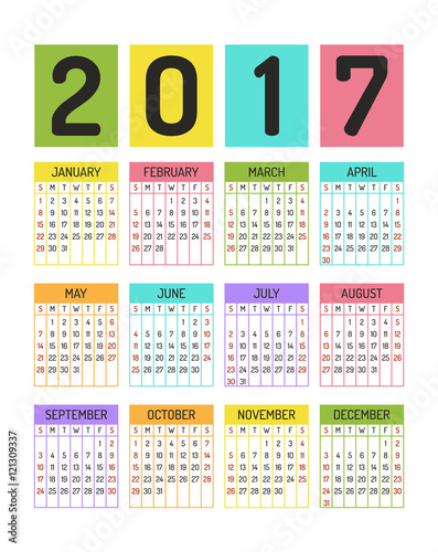 Color Block Calendar Template For 2017 Year Stock Image And Royalty