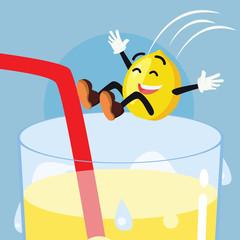 lemon man jumping into lemonade