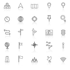 Navigation line icons with reflect on white background