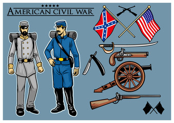 american civil war vector set