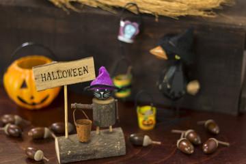 黒猫、カラスとお化けカボチャのハロウィンイ