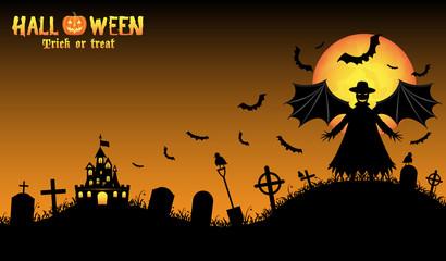 vampire with halloween background
