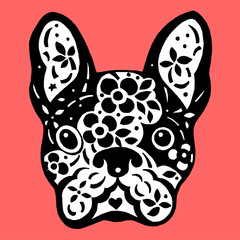french bulldog sugar skull, frenchie cute dog day of the dead, vector design