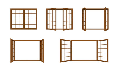 Brown window frame isolated on white background.