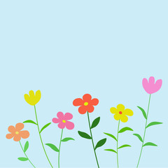 Flower background vector, flower card vector with blue backgroun