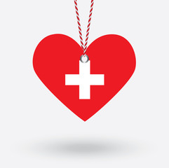 Switzerland flag in the shape of a heart with hang tags