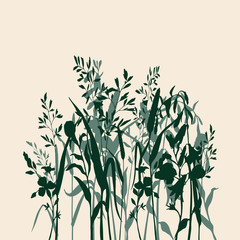 Silhouette green grass and herbs. Ink sketch on beige background. Hand drawn vector illustration.