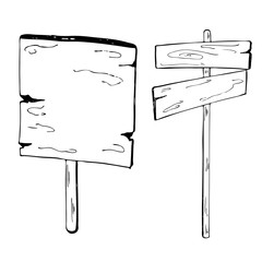 Wooden signs. Ink sketch. Hand drawn vector illustration.