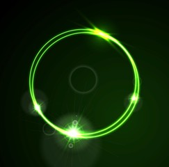 Glow green neon vector ring shiny template design