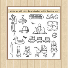 Vector set with hand drawn isolated doodles on the theme of games and toys for boys and girls