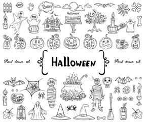 Vector set with hand drawn isolated doodles on the theme of Halloween on white color