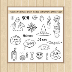 Vector set with hand drawn isolated doodles on the theme of Halloween