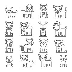 Pets line icons. Dogs and cats outline signs vector