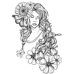 hand drawn ink doodle womans face and flowing hair on white background. design for adults, poster, print, t-shirt, invitation, banners, flyers.