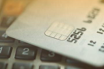Credit card on calculator
