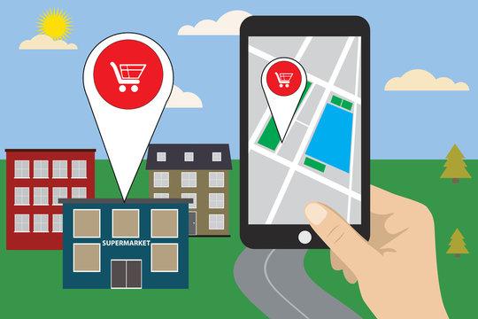 Mobile navigation concept vector illustration.