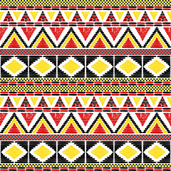 Tribal pattern vector seamless. African print with in Uganda flags colors. Ethic texture. Background for fabric, wallpaper, wrapping paper and card template.